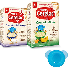 2 Hộp Bột Ăn Dặm Nestlé CERELAC Gạo Lức Trộn Sữa Và Rau Xanh Bí Đỏ - Tặng Bộ Chén Ăn Dặm Màu Ngẫu Nhiên