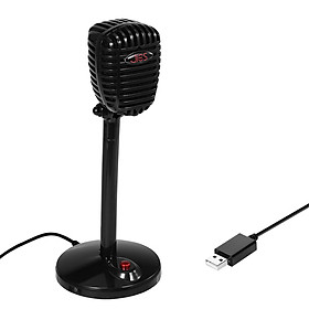F13 Computer Microphone USB Desktop Microphone Omnidirectional Capacitive Microphone for Meeting Game Live Black