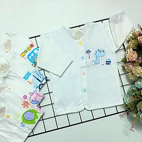 Combo 5 áo sơ sinh tay dài cài nút giữa trắng J-TomTom Baby, chất vải 100% cotton mềm mịn cho bé sơ sinh, hàng Việt Nam chất lượng