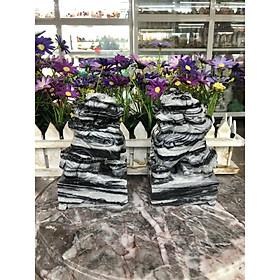 Cặp Kỳ Lân phong thủy đá cẩm thạch vân đen - Cao 15 cm