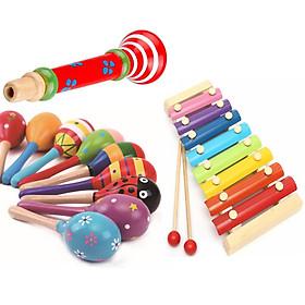 COMBO 3 nhạc cụ bằng gỗ cho bé(Đàn, kèn, trứng lắc)