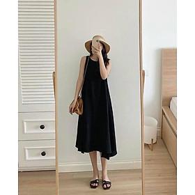váy suông nữ ,đầm suông nữ sát nách dáng dài chất đũi 3 màu xinh xắn