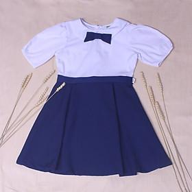 Đầm học sinh nữ cổ sen đính nơ ngực big size jadiny GDP012