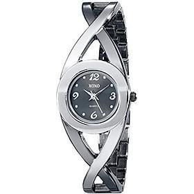XOXO Women's XO5218 Black Dial Two-Tone Half Cuff and Half Bracelet Watch