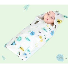 Chăn ủ kén xô có mũ cho bé sơ sinh kích thước 80 x80 cm (mẫu ngẫu nhiên)