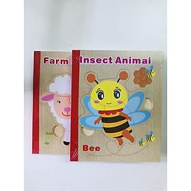 Sách gỗ ghép hình - Combo 2 cuốn sách gỗ ghép hình chủ đề động vật và côn trùng mã 01