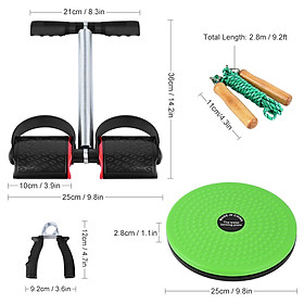 5 PCS Fitness Set with Spring Pedal Puller Waist Twist Board Hand Grip Adjustable Jump Rope for Home Office Gym-6