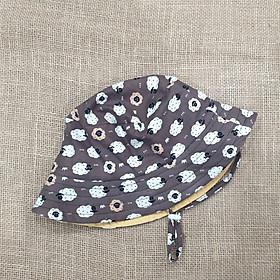 Mũ tai bèo, mũ tròn rộng vành, bucket cho bé từ 0 - 12 tuổi màu nâu hình cừu ngộ nghĩnh đáng yêu. Mũ đội 2 mặt chống nắng, tia UV đi biển, dã ngoại