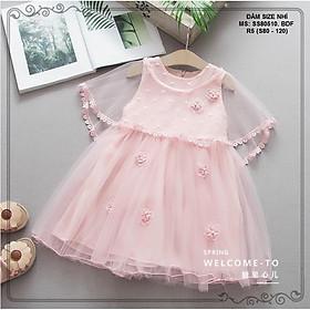 Váy bé gái đầm bé gái đầm công chúa dự tiệc cho bé gái ren chùm rời hồng DBG012 cho bé 1 2 3 4 5 6 7 tuổi
