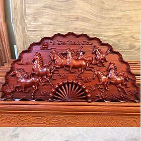 Tranh quạt gỗ Mã đáo thành công gỗ hương