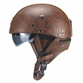 Unisex Leather Helmets for Motorcycle Retro Half Cruise Helmet Motorcycle Helmet