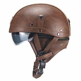 Unisex Leather Helmets for Motorcycle Retro Half Cruise Helmet Motorcycle Helmet