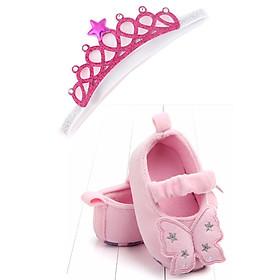 Combo giày tập đi cánh bướm chất vải nhung + băng đô  công chúa cho bé gái từ 6-12 tháng tuổi