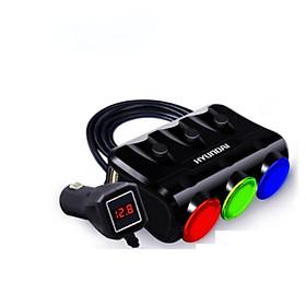 Bộ chia tẩu sạc ô tô cao cấp 3 tẩu - 2 cổng USB Huyndai - Hàng nhập khẩu