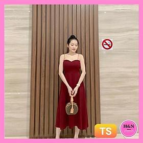 Váy Thiêt Kế suông dài 2 dây, váy lụa hở lưng quyến rũ xinh đẹp - H&N Store