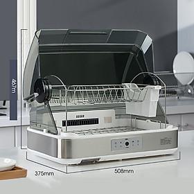 Máy sấy chén bát cao cấp dung tích 45 lít giá inox 2 tầng chứa công nghệ khử trùng tia uv - Hàng chính hãng