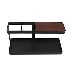 Remote Control Holder Stand Wooden Iron Glasses Watch Storage Box Office Desktop Organizer Jewelry Storage Rack Shelf