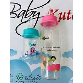 Combo Bình sữa cho bé 250ML Baby Kute dạng tròn kèm bình tập uống 60ML nhập khẩu từ Thái Lan