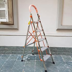 Thang nhôm ghế inox chữ A 5 bậc Ameca AMG-5IN chiều cao sử dụng 1m2 thang gia đình, thang thắp hương
