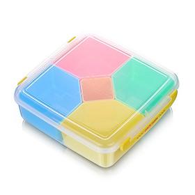 Hộp nhựa đựng thực phẩm 5 ngăn Inomata (Nắp vàng) - Nội địa Nhật Bản