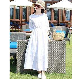 Đầm suông linen nữ chiết eo trẻ trung ArcitcHunter, thời trang xuân hè 2021 - Trắng