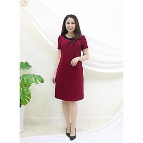 Đầm Thiết kế Đầm xòe Đầm thời trang công sở Đầm trung niên thương hiệu TTV347 đỏ đô - Đầm suông cổ kết hoa C.T