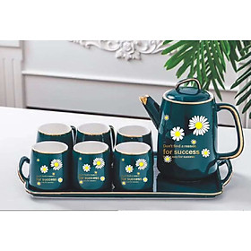 Bộ ấm chén kèm khay sứ  pha trà cà phê Xanh cổ vịt họa tiêt hoa cúc xinh xắn - ANTH241
