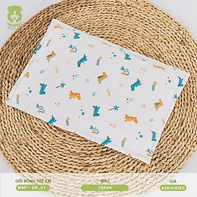 Gối bông trẻ em Mipbi vải xô 2 lớp 100% cotton GB01