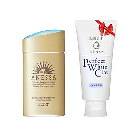 Bộ đôi chống nắng bảo vệ hoàn hảo và giúp da sạch sâu (Kem chống nắng Anessa Perfect UV Sunscreen Skincare Milk SPF 50+ PA++++ 60ml và Sữa Rửa Mặt Senka Perfect White Clay 120g)