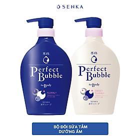 Bộ đôi sữa tắm dưỡng ẩm SENKA PERFECT BUBBLE( S.Tắm D.Ẩm SK PFW-Hương H.Hồng & Đinh Hương 500ml + Hương Linh Lan & Hoa Nhài 500ml)