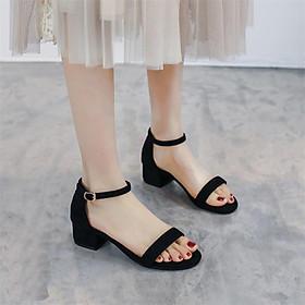 Giày cao gót nữ đế vuông 5 phân hở mũi da lộn sandal bít gót quai ngang basic TẶNG 1 cặp lót gót giày khử mùi êm chân