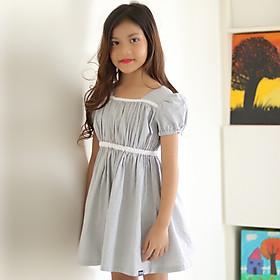 Đầm Bé Gái Kika Màu Trắng Chấm Đen Viền Ngực Trắng K104