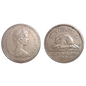 Đồng xu Canada 5 cent nữ hoàng Elizabeth II [MỚI CỨNG]  sưu tầm 21.2 mm
