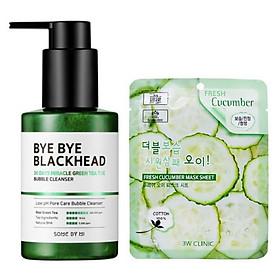 Sữa Rửa Mặt Sủi Bọt Loại Bỏ Mụn Đầu Đen Some By Mi Bye Bye Blackhead 30 Days Miracle Green Tea Tox Bubble Cleanser 120g + Tặng kèm 1 mặt nạ dưỡng da Dưa leo 3W Clinic