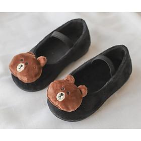 Giày Búp Bê Cho Bé Gái Hình Mặt Gấu Ngộ Nghĩnh Dễ Thương Có 2 Màu (Đen, Đỏ)