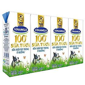 [Chỉ giao HCM] Sữa tươi tiệt trùng Vinamilk 100% ít đường lốc 4x180ml-3338216
