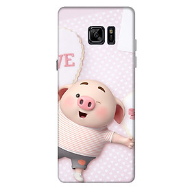 Ốp lưng nhựa cứng nhám dành cho Samsung Galaxy Note FE in hình Heo Con Love