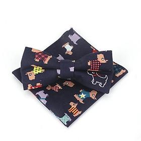 Bộ sản phẩm cà vạt , nơ bướm  đeo cổ hoa văn chú chó 04  và khăn tay  cho bé trai