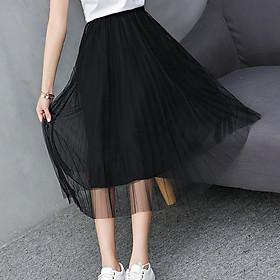 Chân váy xếp ly dài 2 lớp voan duyên dáng