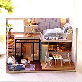 Mô hình nhà DIY Doll House Blue Time Kèm Mica Chống bụi