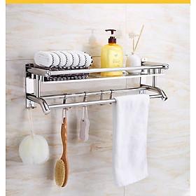 Giá Vắt Khăn INOX 304 dán tường chịu tải 10kg, Kệ treo khăn nhà tắm 2 tầng có móc treo - Tặng kèm 1 Móc INOX