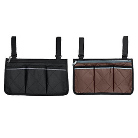 2x Universal Wheelchair Side Bag Armrest Storage Phone Holder Mobility Aid