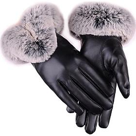 Bao tay da nữ cổ lông giữ ấm mùa đông cảm ứng điện thoại