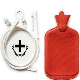 Women Men Enema System Kit with Rubber Hot Water Bottle Douche Bag Tubing