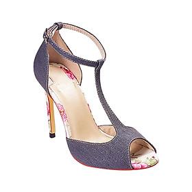 Giày Cao Gót Vải Jean T-Strap Sulily G01-II17XANHDAM