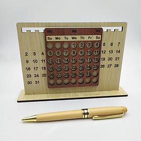 Combo Lịch gỗ 2 màu & Bút gỗ xoay