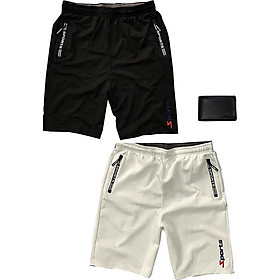 Combo 2 Quần shorts thể thao nam dạng sọt sport đùi chất thun lạnh 4 chiều cao cấp phù hợp tập gym hay mặc nhà màu trắng và đen DUI-P101 (tặng 1 ví)