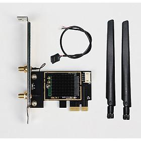 Card WIFI Bluetooth cho PC sử dụng chip Intel WIFI 6 AX200 khe PCI cho tích hợp Bluetooth 5.0  tốc độ 2400M có tản nhiệt