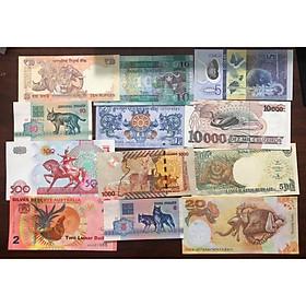 Bộ tiền 12 con giáp ghép từ 12 tờ tiền cổ của các quốc gia trên thế giới