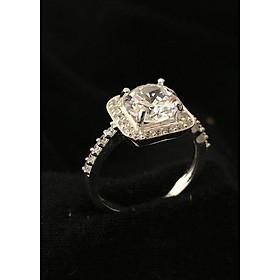Hình đại diện sản phẩm Nhẫn nữ ổ cao gắn kim cương nhân tạo đá 6ly 100% bạc cao cấp - NU210 - Trang Sức Bạc QTJ(bạc)